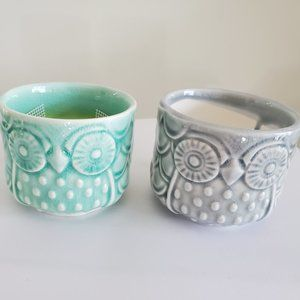 Other - Set of 2 Owl Planters Sea Green Grey Ceramic 2.6""